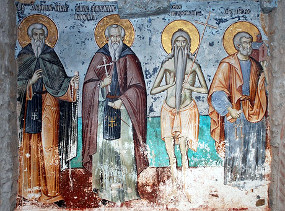 Преподобные Евфимий Иверский, Афанасий Афонский, Петр Афонский и святой апостол Петр. Фреска в Карее