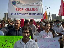 Протест христиан против притеснений в Пакистане