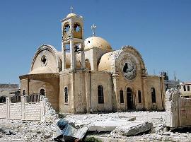 Поврежденный храм в Сирии