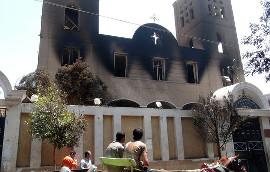 Сожженный христианский храм в Египте