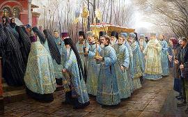 Перенесение мощей патриарха Тихона или Благовещение в Донском монастыре