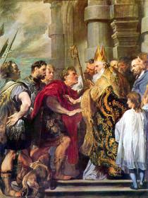 Св. Амвросий Медиоланский и император Феодосий