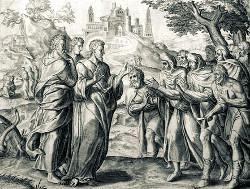 Исцеление Христом десяти прокаженных. Гравюра к Библии Пискатора