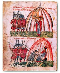Убийцы у шатра князя Бориса; убиение князя Бориса и Георгия Угрина
