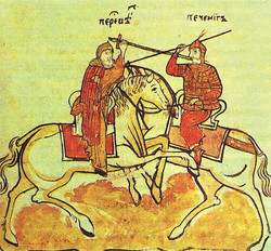 Поединок Пересвета с Печенегом. В руках у Пересвета вместо копья — монашеский посох. Миниатюра XVII века