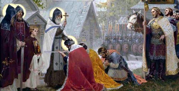 Преподобный Сергий Радонежский благословляет на брань Дмитрия Донского