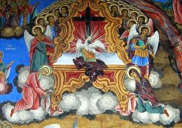 Святой Дух на престоле. Фреска Рильского монастыря