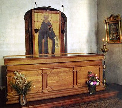 Рака с мощами преподобного Кирилла Белоезерского в Кирилловской церкви Кирилло-Белозерского монастыря