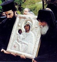 Старец Паисий Святогорец на крестном ходе. Афон