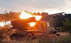 Обстрел украинской армии жилых кварталов из установок «Град»