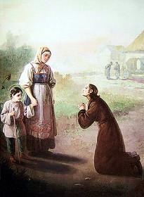 Старший брат свт. Тихона Ефим упрашивает свою мать Домникию не отдавать маленького Тиму ямщику