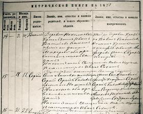 Подпись псаломщика Ивана Соколова в Метрической книге с. Липовка, под записью о рождении Сергея Бехтеева, будущего поэта