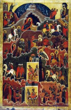 Икона XVI века, содержащая сцену избиения Вифлеемских младенцев