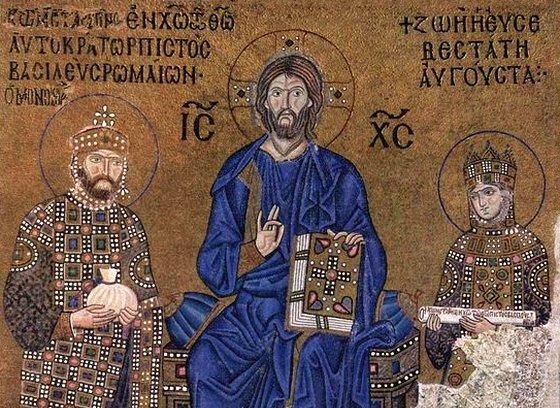 Византийский император Константин IX Мономах и императрица Зоя перед Христом