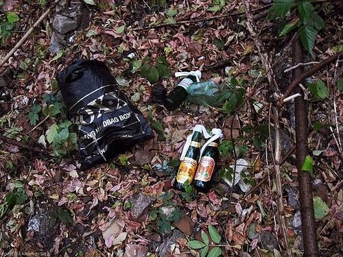 Бутылки с коктейлем Молотова, найденные у стен Харьковского Покровского монастыря