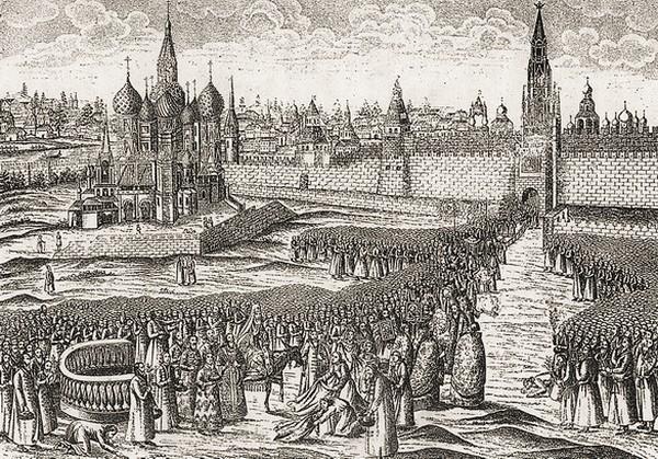 Шествие на осляти. Голландская гравюра XVII в.