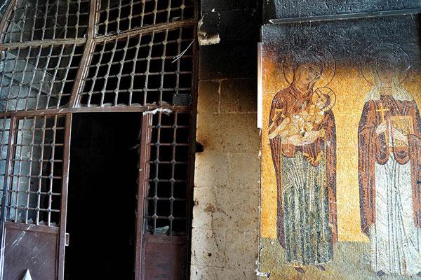 Маалюля. Пстрадавший в результате боев армии с боевиками православный монастырь св. Фёклы