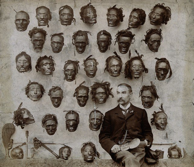 Коллекция засушенных голов индейцев племени маори, собранная британским офицером Горацио Робли. Фото 1895 г.
