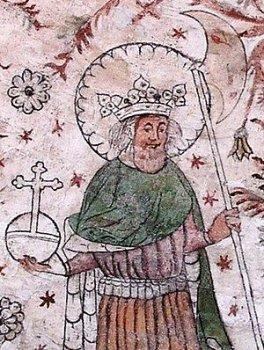 Св. Олаф на фреске в одной из шведских церквей