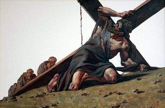 Рисунок со статусом - не исус, но несу свой крест, пытаясь достучаться