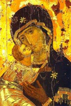 «Владимирская икона Божией Матери» — наиболее почитаемое изображение Богоматери на Руси. Византия. XII в.