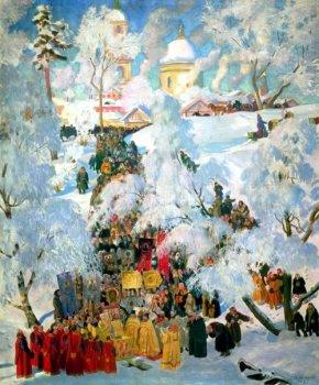 Зима. Крещенское водосвятие. Борис Михайлович Кустодиев