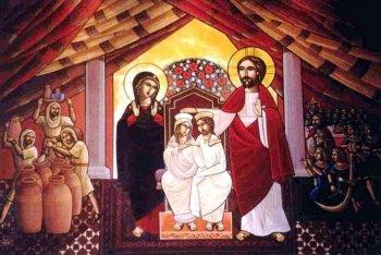 Брак в Кане Галилейской. Коптская икона