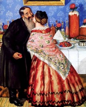 Б. Кустодиев. Христосование. 1916 г.