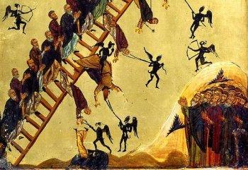 Бесы искушают подвижников. Фрагмент иконы «Лествица». Синай, XII в.